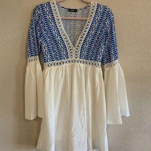 White&Blue Flowy Dress